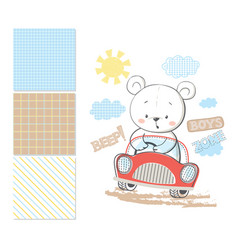 little bear in car surface pattern and 3 seamless vector image