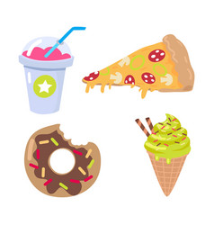 smoothie piece of pizza doughnut ice cream cone vector image