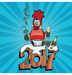 The penguin dressed as a rooster new year 2017 vector image