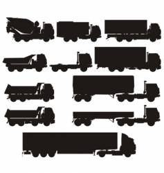 truck silhouettes set vector image vector image