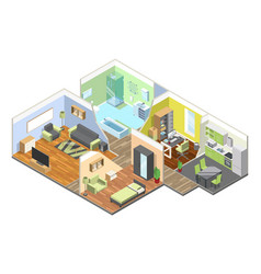 3d interior of modern house with kitchen living vector image vector image
