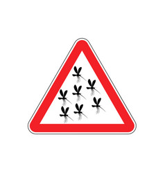 Attention mosquito midge in red triangle warning vector
