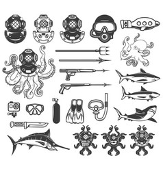 big set of diving icons diver equipment weapon vector image