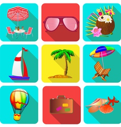 set of icons on a theme vacation with sunglasses vector image vector image
