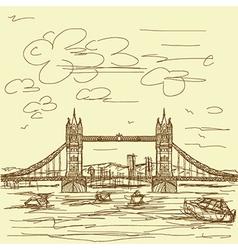 Vintage hand drawn of famous tourist destination vector
