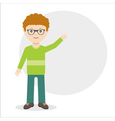 young guy pointing with finger idea flat vector image
