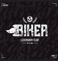 Biker club emblem and seamless pattern vector image