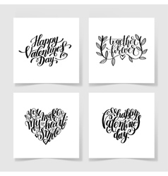 set of happy valentines day handwritten lettering vector image vector image