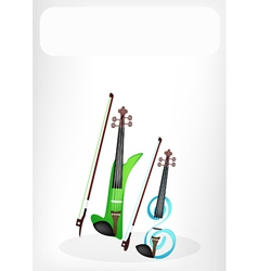 Two Beautiful Modern Violins with A White Banner vector image vector image