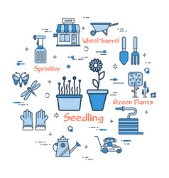 06 blue gardening - seedling vector image