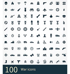 100 war icons set vector image