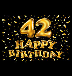 42 years anniversary with gold stylized number vector