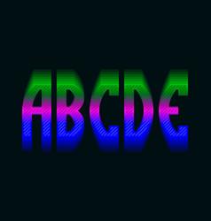 A b c d e iridescent vibrant letters colorful vector