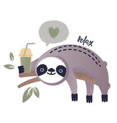 a kawaii sloth vector image