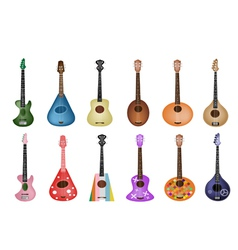 A Set of Beautiful Ukulele Guitars vector