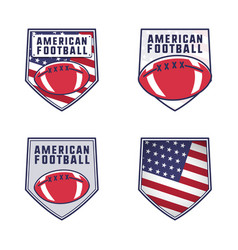 american football logo emblems set usa sports vector image
