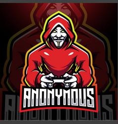 Anonymous gamer esport mascot logo design vector