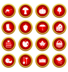 Autumn icon red circle set vector