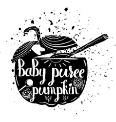 Baby food pumpkin on a white background vector