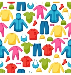 baclothes seamless pattern with clothing items vector image