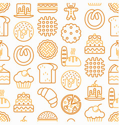 Bakery seamless pattern with thin line icons vector