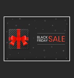 black friday sale gift box with red ribbon on vector image