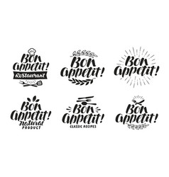 Bon appetit label lettering for menu design vector