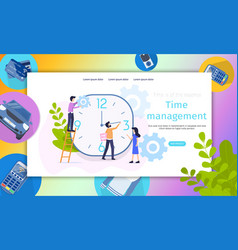 Business project time management character banner vector