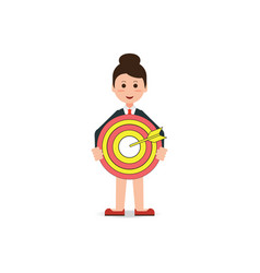 Business woman holding big aim target bravely vector