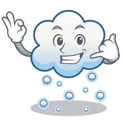 Call me snow cloud character cartoon vector