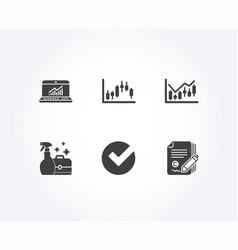Candlestick graph verify and cleanser spray icons vector