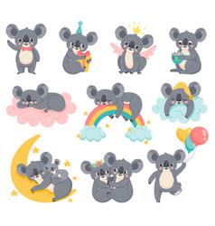 cartoon birthday koalas lazy koala sleeping on vector image