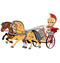 Cartoon roman war chariot vector