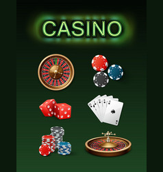 casino gambling attributes vector image