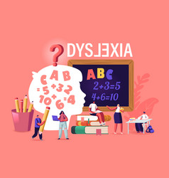 Children with dyslexia disorder study in special vector