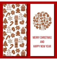 Christmas card cozy xmas gingerbred greetings vector