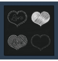Collection of white hearts on chalkboard vector
