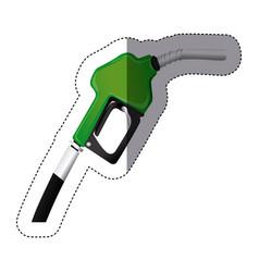 Color sticker silhouette with gasoline pump nozzle vector