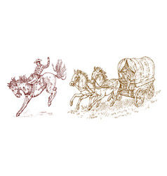 Cowboys in the carriage vintage horse harness or vector