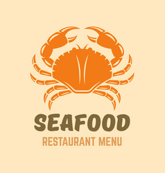 Crab seafood restaurant menu logo template vector