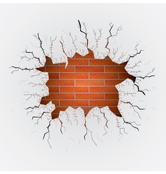 Cracked plaster with brick wall vector image