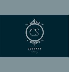 cs c s blue decorative monogram alphabet letter vector image