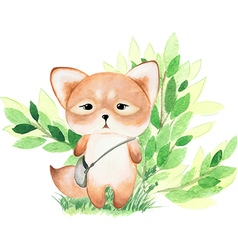 Cute watercolor fox vector image