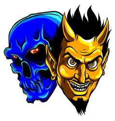 Demon devil and skull head vector