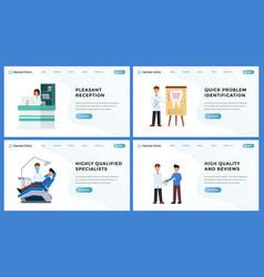 Dental clinic landing website page set vector