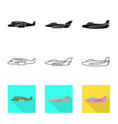 Design travel and airways icon set of vector