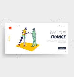 Disabled physiotherapy landing page template vector