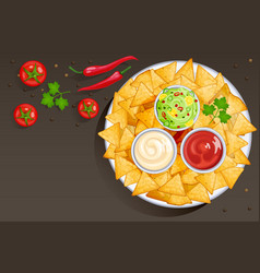 Dish with nacho chips and sauces in bowls vector