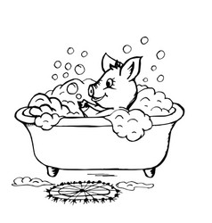 doodle piggy washes in the bathroom vector image