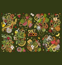 Doodles cartoon set diet food vector